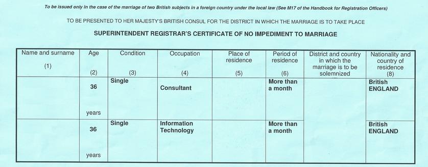apostille certificate of no impediment