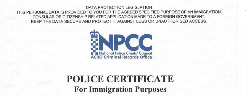 Acro Police Certificate >> Apostilles for NPCC - ACRO - ACPO Certificates