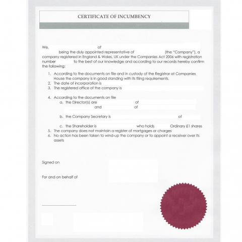 Certificate of incumbency with apostille for Incumbency certificate form